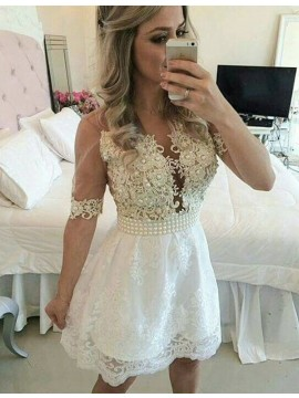 A-Line V-Neck Half Sleeves White Lace Short Homecoming Dress with Appliques Pearls