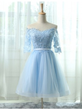 A-Line Off the Shoulder Half Sleeves Light Blue Homecoming Dress with Appliques