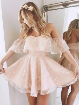 A-Line Off-the-Shoulder Short Pink/Blue Organza Cute Homecoming Dress
