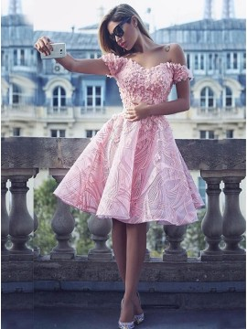 6950c48854659d A-Line Off-the-Shoulder Pink Lace Homecoming Dress with Appliques
