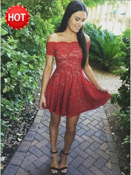 A-Line Off-the-Shoulder Short Sleeves Short Red Lace Homecoming Dress