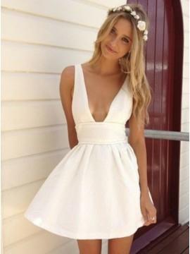 A-Line Deep V-Neck White Satin Homecoming Dress