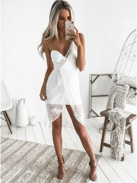 Sheath One Shoulder High Low White Chiffon Homecoming Cocktail Dress
