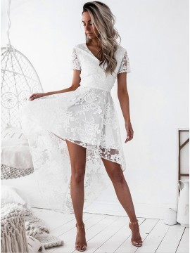High Low V-Neck Short Sleeves Criss-Cross Straps White Lace Homecoming Dress