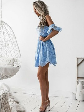 A-Line Spaghetti Straps Short Sleeves Blue Lace Prom/Homecoming Dress