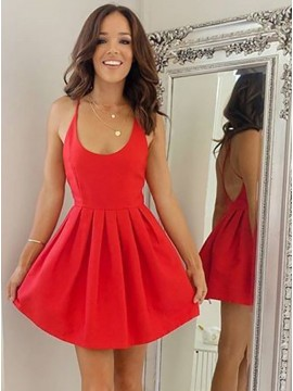 A-Line Scoop Sleeveless Criss-Cross Straps Short Red Homecoming Dress