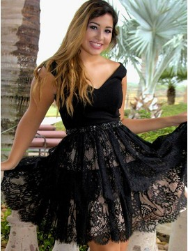 A-Line V-Neck Short Black Lace Homecoming Dress with Beading Waist