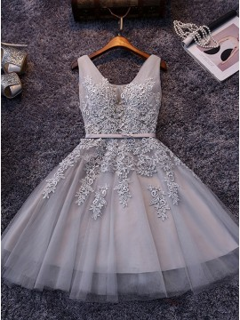 A-Line V-Neck Appliques Gray Tulle Homecoming Dress