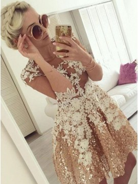 A-Line Jewel Half Sleeves Champagne Appliques Homecoming Dress