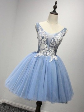 A-Line Crew Neck Blue Appliques Homecoming Dress