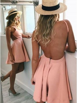 A-Line Crew Neck Backless Pink Satin Homecoming Dress