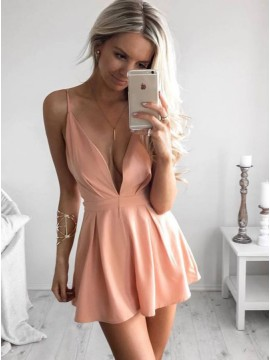 A-Line Spaghetti Straps Short Coral Satin Homecoming Dress with Pleats