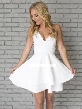 A-Line Spaghetti Straps Satin Short White Homecoming Dress with Lace