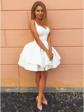 A-Line Straps White Tiered Satin Homecoming Dress