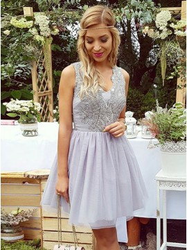 A-Line V-Neck Short Lilac Tulle Homecoming Dress with Lace