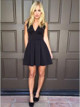 A-Line V-Neck V-Back Black White Satin Homecoming Dress