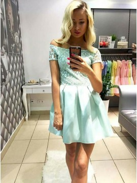 A-Line Off-the-Shoulder Mint Satin Homecoming Dress with Lace
