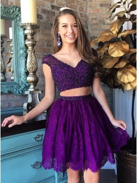 Two Piece V-Neck Beading Purple Homecoming Dress with Lace
