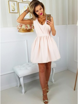 A-Line Scoop Open Back Pink Satin Homecoming Dress