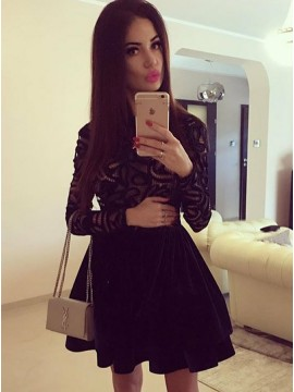 A-Line Jewel Long Sleeves Little Black Dress with Lace