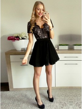 A-Line V-Neck Short Sleeves Open Back Velet Little Black Dress