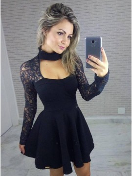 A-Line High Neck Lace Long Sleeves Little Black Dress