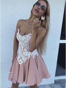 A-Line Spaghetti Straps Short Blush Homecoming Dress with Appliques