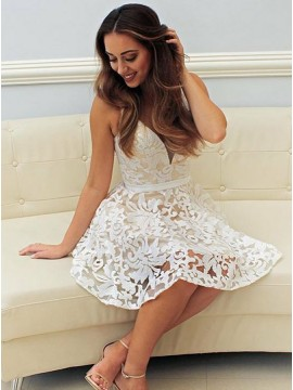 A-Line V-Neck Short White Lace Homecoming Dress