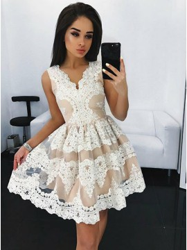 A-Line V-Neck Appliques White Homecoming Dress