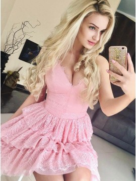 A-Line Scoop Short Pink Lace Tired Homecoming Dress
