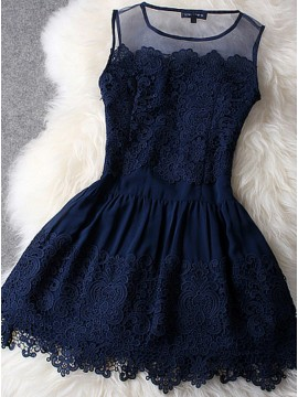 A-Line Crew Neck Short Navy Blue Homecoming Dress with Appliques
