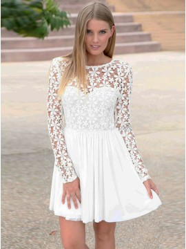 A-Line Long Sleeves White Chiffon Gorgeous Homecoming Dress with Lace