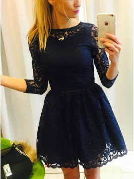 A-Line Bateau 3/4 Sleeves Navy Blue lace Homecoming Dress