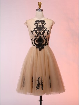 A-Line Bateau Cap Sleeves Short Champagne Homecoming Dress with Appliques