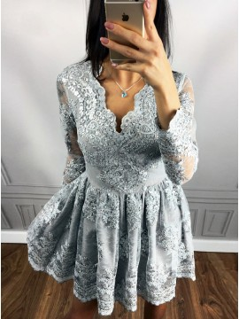 A-Line V-Neck Long Sleeves Gray Homecoming Dress with Appliques