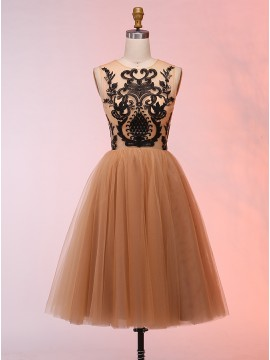 A-Line Round Neck Short Apricot Prom Dress with Appliques