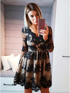 A-Line V-Neck Long Sleeves Black Homecoming Dress with Appliques