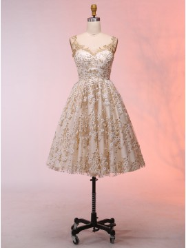 A-Line Scoop Champagne Short Sexy Prom Dress with Appliques