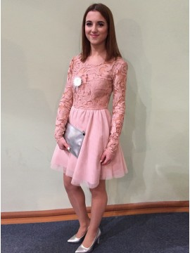 A-Line Round Neck Long Sleeves Pink Homecoming Dress with Lace