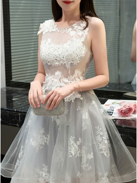 A-Line Jewel Sleeveless Light Gray Tulle Homecoming Dress with Appliques