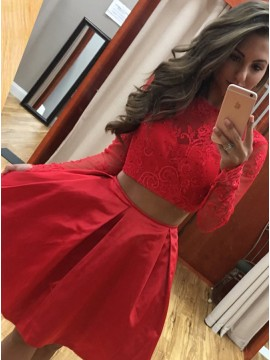 A-Line Bateau Long Sleeves Above-Knee Red Satin Homecoming Dress with Beading