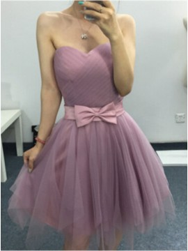 A-Line Sweetheart Above-Knee Lilac Homecoming Dress with Bowknot