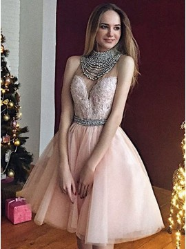 A-Line High Neck Knee-Length Light Pink Tulle Homecoming Dress with Beading