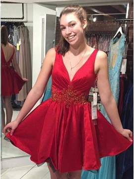 A-Line Deep V-Veck Sleeveless Red Stretch Satin Homecoming Dress with Beading