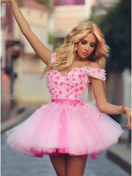 A-Line Off-the-Shoulder Short Pink Tulle Homecoming Dress with Appliques
