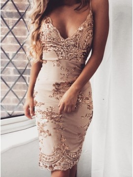 Sheath Spaghetti Straps Knee-Length Champagne Cocktail Dress with Sequins