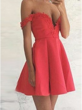 A-Line Off-the-Shoulder Short Satin Red Homecoming Dress with Appliques