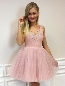 A-Line V-Neck Short Blush Tulle Homecoming Dress with Appliques