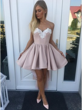 A-Line Sweetheart High Low Blush Homecoming Dress with Appliques