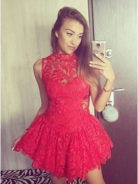 A-Line High Neck Open Back Short Red Lace Homecoming Dress